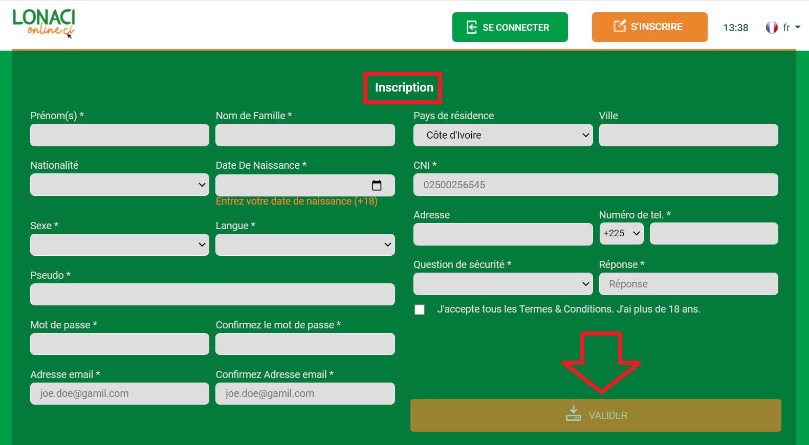 Comment créer un compte Sportcash en Côte d'Ivoire